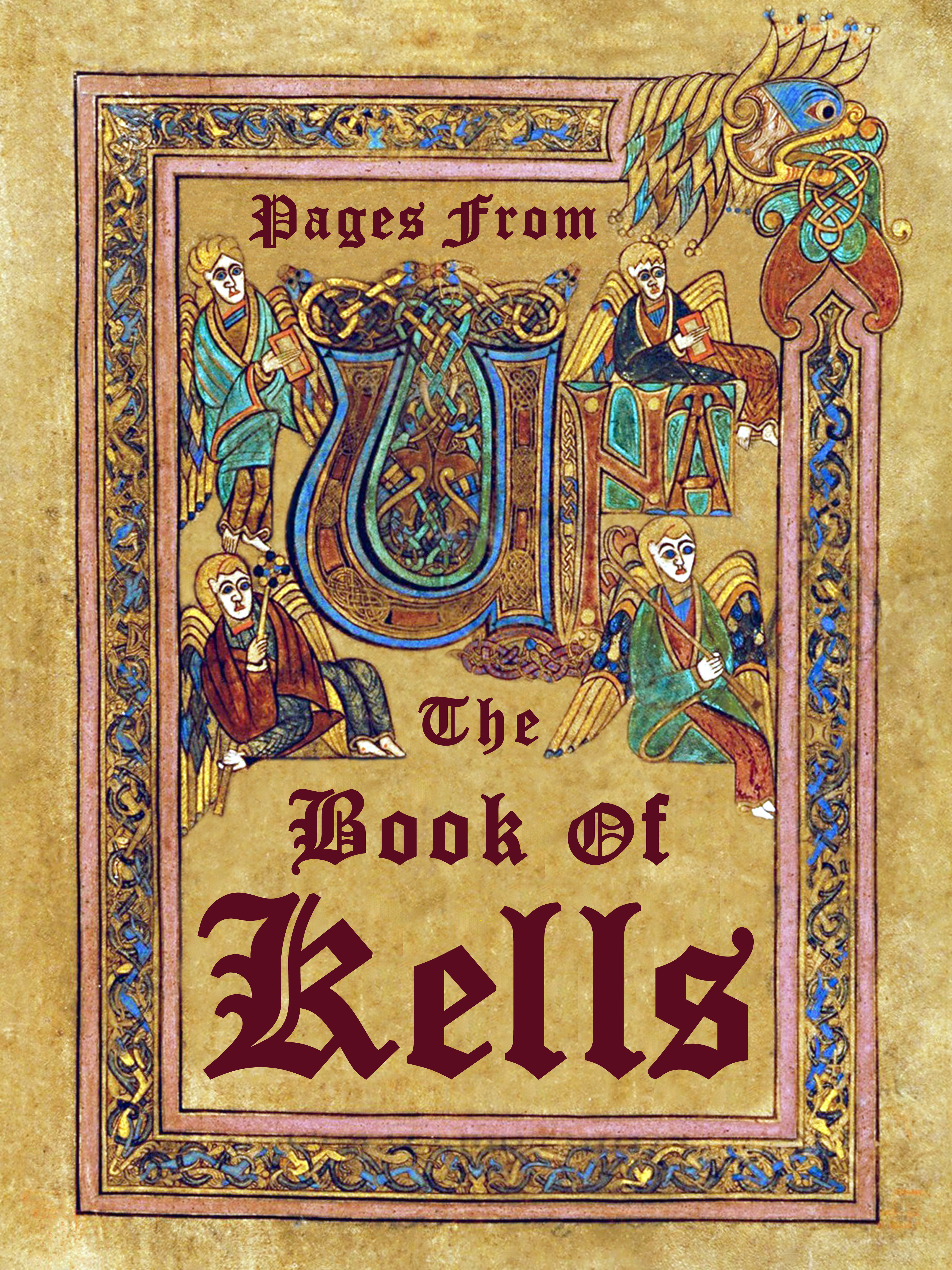 The Book of Kells (Irish: Leabhar Cheanannais) (Dublin, Trinity College Library, MS A. I. (58), sometimes known as the Book of Columba) is an illuminated manuscript Gospel book in Latin, containing the four Gospels of the New Testament together with various prefatory texts and tables. It was created by Celtic monks ca. 800 or slightly earlier. The text of the Gospels is largely drawn from the Vulgate, although it also includes several passages drawn from the earlier versions of the Bible known as the Vetus Latina. It is a masterwork of Western calligraphy and represents the pinnacle of Insular illumination. It is also widely regarded as Ireland's finest national treasure. The illustrations and ornamentation of the Book of Kells surpass that of other Insular Gospel books in extravagance and complexity. The decoration combines traditional Christian iconography with the ornate swirling motifs typical of Insular art. Figures of humans, animals and mythical beasts, together with Celtic knots and interlacing patterns in vibrant colours, enliven the manuscript's pages. Many of these minor decorative elements are imbued with Christian symbolism and so further emphasise the themes of the major illustrations. The manuscript today comprises 340 folios and, since 1953, has been bound in four volumes. The leaves are on high-quality calf vellum, and the unprecedentedly elaborate ornamentation that covers them includes ten full-page illustrations and text pages that are vibrant with decorated initials and interlinear miniatures and mark the furthest extension of the anti-classical and energetic qualities of Insular art. The Insular majuscule script of the text itself appears to be the work of at least three different scribes. The lettering is in iron gall ink, and the colours used were derived from a wide range of substances, many of which were imports from distant lands. The manuscript takes its name from the Abbey of Kells that was its home.